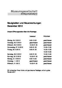 Neuigkeiten und Neuerwerbungen Dezember 2012