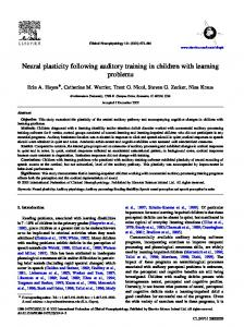 Neural plasticity following auditory training in children with learning problems