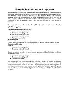 Neuraxial Blockade and Anticoagulation