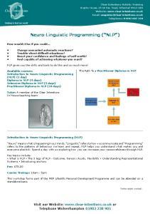 Neuro-Linguistic Programming ( NLP )