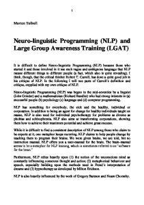 Neuro-linguistic Programming (NLP) and Large Group Awareness Training (LGAT)
