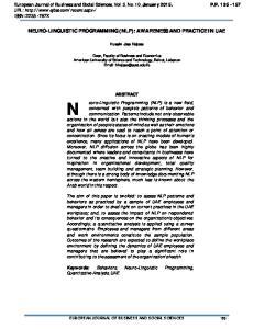 NEURO-LINGUISTIC PROGRAMMING (NLP): AWARENESS AND PRACTICE IN UAE