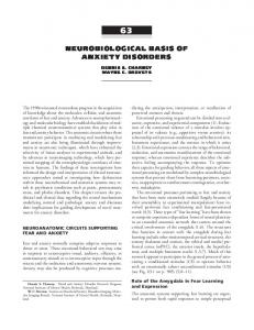 NEUROBIOLOGICAL BASIS OF ANXIETY DISORDERS
