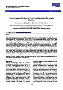 Neurobiological Findings in Youth with Borderline Personality Disorder