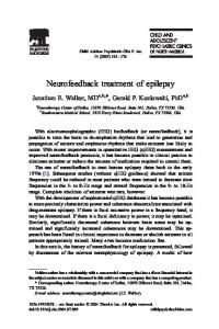 Neurofeedback treatment of epilepsy