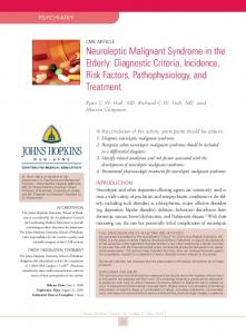 Neuroleptic Malignant Syndrome in the Elderly: Diagnostic Criteria, Incidence, Risk Factors, Pathophysiology, and Treatment