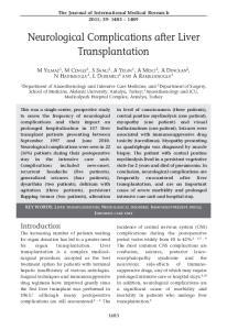 Neurological Complications after Liver Transplantation