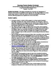 Neurology Practice Rotation Curriculum Rotation Introduction: Rotation Logistics: