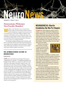 NeuroNews. Neuroscience Welcomes New Faculty Member! We offer a warm welcome to our new neuroscience