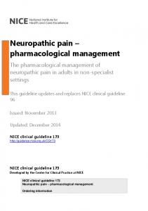 Neuropathic pain pharmacological management