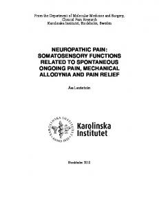 NEUROPATHIC PAIN: SOMATOSENSORY FUNCTIONS RELATED TO SPONTANEOUS ONGOING PAIN, MECHANICAL ALLODYNIA AND PAIN RELIEF