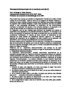 Neuropsicofarmacología de la conducta suicida (I)