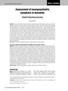 Neuropsychiatric disorders are a major. Assessment of neuropsychiatric symptoms in dementia. Toward improving accuracy