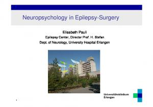 Neuropsychology in Epilepsy-Surgery
