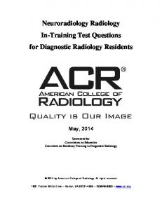 Neuroradiology Radiology In-Training Test Questions for Diagnostic Radiology Residents