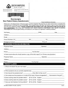 Neurosurgery New Patient History Questionnaire