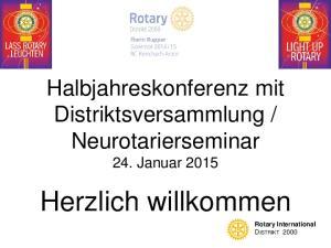 Neurotarierseminar. 24. Januar Herzlich willkommen