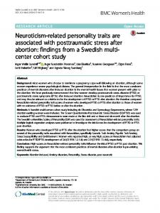 Neuroticism-related personality traits are associated with posttraumatic stress after abortion: findings from a Swedish multicenter