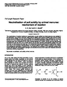 Neutralization of soil acidity by animal manures: mechanism of reaction