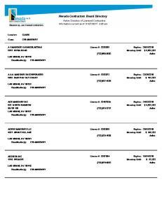 Nevada Contractors Board Directory