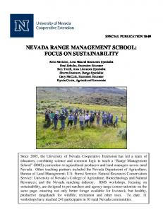 NEVADA RANGE MANAGEMENT SCHOOL: FOCUS ON SUSTAINABILITY