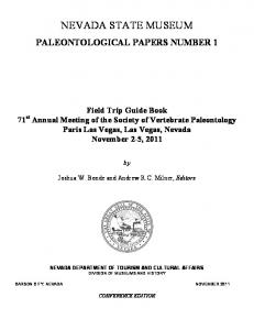 NEVADA STATE MUSEUM PALEONTOLOGICAL PAPERS NUMBER 1