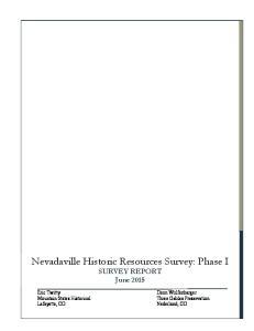 Nevadaville Historic Resources Survey: Phase I