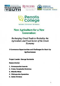 New Agriculture for a New Generation: