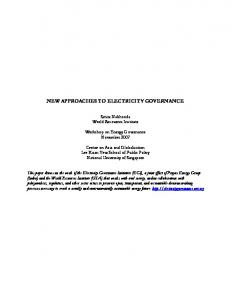 NEW APPROACHES TO ELECTRICITY GOVERNANCE