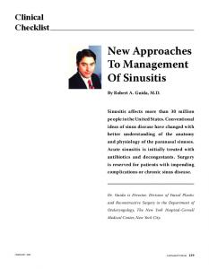 New Approaches To Management Of Sinusitis