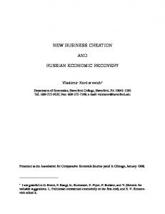 NEW BUSINESS CREATION AND RUSSIAN ECONOMIC RECOVERY