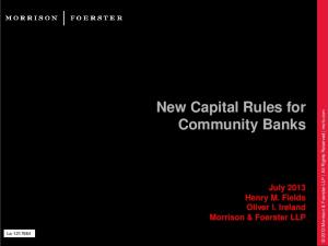 New Capital Rules for Community Banks