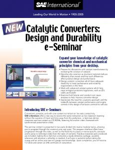NEW. Catalytic Converters: Expand your knowledge of catalytic converter chemical and mechanical principles from your desktop