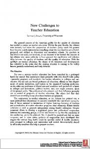 New Challenges to Teacher Education