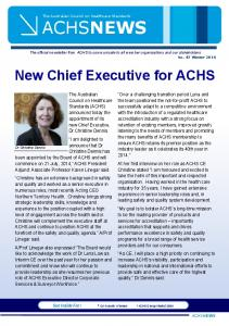 New Chief Executive for ACHS