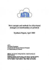 New concepts and methods for effect-based strategies on transboundary air pollution. Synthesis Report, April 2002