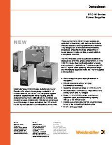 NEW. Datasheet. PRO-M Series Power Supplies
