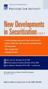 New Developments in Securitization