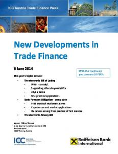 New Developments in Trade Finance