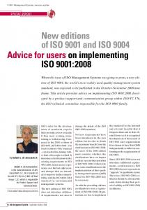 New editions of ISO 9001 and ISO 9004 Advice for users on implementing ISO 9001:2008