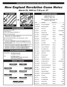 New England Revolution Game Notes