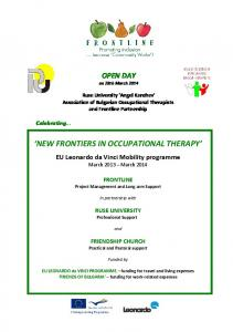 NEW FRONTIERS IN OCCUPATIONAL THERAPY