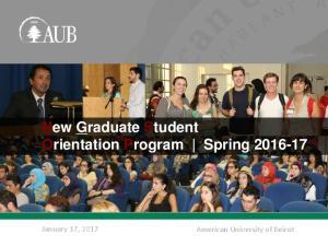 New Graduate Student Orientation Program Spring