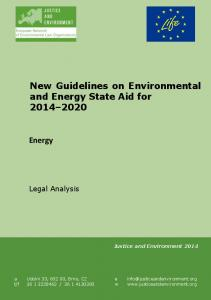 New Guidelines on Environmental and Energy State Aid for