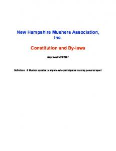 New Hampshire Mushers Association, Inc. Constitution and By-laws