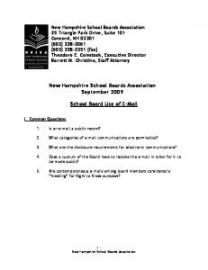 New Hampshire School Boards Association. September School Board Use of