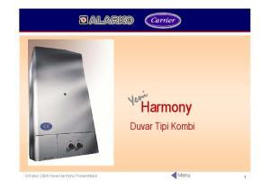 New Harmony Presentation Menu