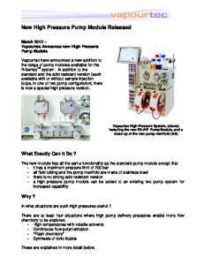 New High Pressure Pump Module Released