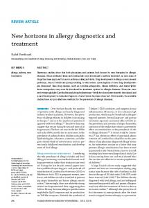 New horizons in allergy diagnostics and treatment