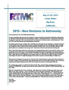 New Horizons in Astronomy